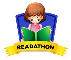 Wordcard for readathon with girl reading book
