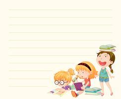Modelo de papel de linha com meninas lendo livros