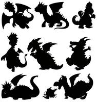 Set silhouette dragon on white background