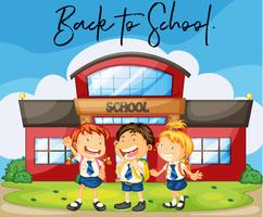 Students at school with phrase back to school vector