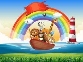 Wilde Tiere, die auf Ruderboot fahren