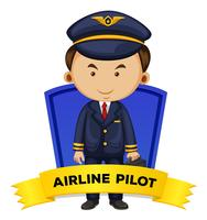 Occupation wordcard with airline pilot