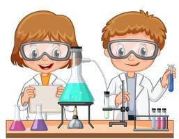Dos niños haciendo un experimento científico en clase.