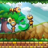 Número tres con 3 abejas volando en el jardín.