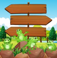 Sign template with frogs on rocks vector