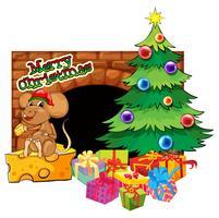 Plantilla de tarjeta de Navidad con árbol de Navidad y regalos