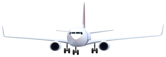 Front view of airplane on white background