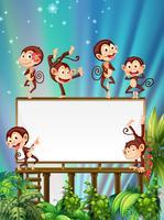 Board-Vorlage mit niedlichen Affen