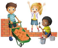 Três, crianças, predios, parede tijolo