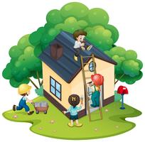 People building house together