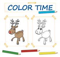 Modèle de coloration avec des rennes heureux