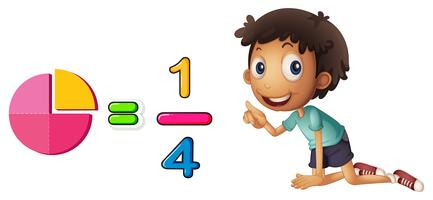 Boy learning fraction on white background vector