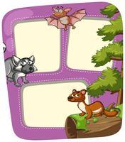 Plantilla de frontera con animales salvajes en bosque