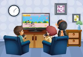 Three kids playing game at home vector