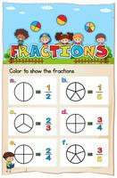 Math worksheet template for color the fraction