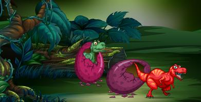 Forest scene with two dinosaurs hatching egg