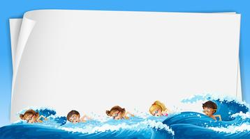 Paper template with kids swimming  in ocean vector