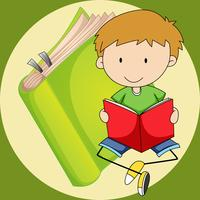 Liten pojke läsning bok