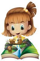 Menina, livro leitura, de, urso pardo, em, selva