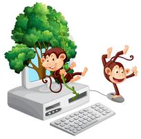 Two monkeys on computer screen