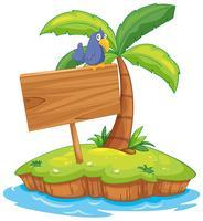 Inselszene mit Vogel auf Holzschild