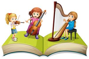 Children playing music on children book