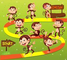 Modelo de jogo com muitos macacos no fundo