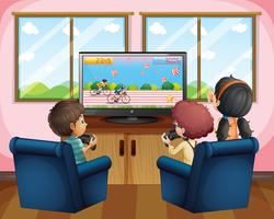 Three kids playing computer game at home vector