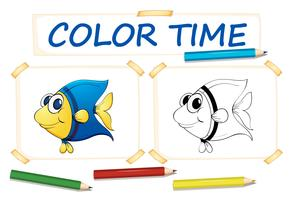 Coloring template for cute fish