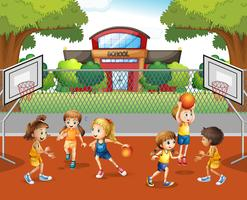 Student playing basketball at school vector