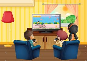 Children playing vdo game in the living room vector