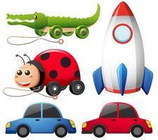 Diferentes tipos de brinquedos coloridos