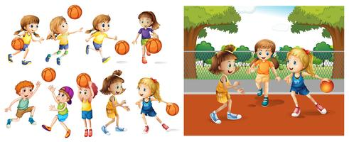 Girls and boys playing basketball