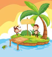 Dos monos en la isla vector