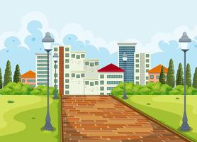 City view from the park background vector