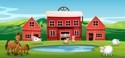Farm animal at farmland vector