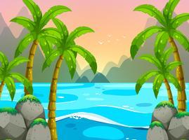 Oceaanscène met bergen op achtergrond