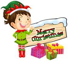 Ragazza e segno di buon Natale