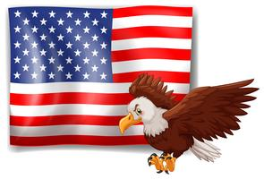 American flag and wild eagle