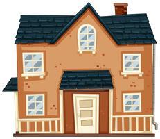 Casa de tijolo com telhado azul