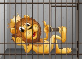 Lion being locked in the cage