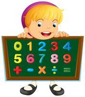 Menina, segurando, tábua, com, números