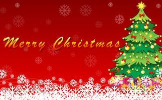 En julkortdesign med ett grönt julgran