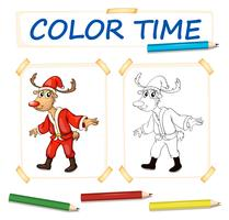 Coloring template with reindeer in santa outfit