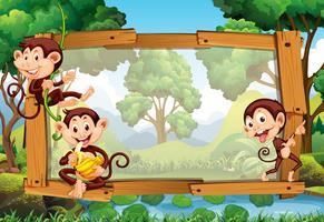 Rahmendesign mit Affen im Dschungel