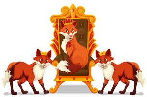 Foxes sitting on the throne