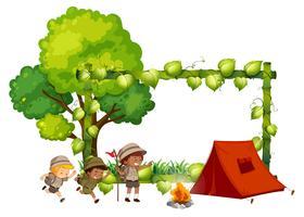 Modelo de quadro de crianças de acampamento