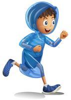Junge im Regenmantel laufen
