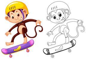 Esquema animal para mono en patineta.