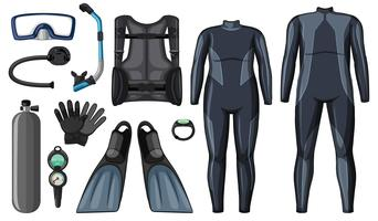 Scuba diving equipment in black color